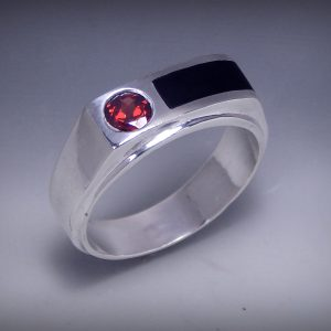 Garnet with Onyx Mens Ring